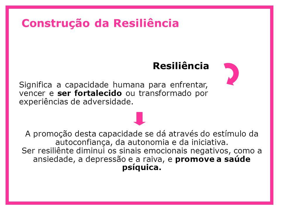Construção da Resiliência Significa a capacidade humana para enfrentar, vencer e ser fortalecido ou transformado por experiências de adversidade. Resi