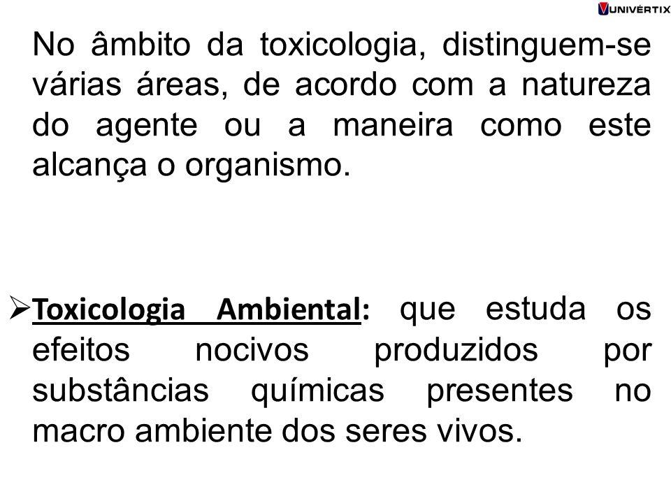 No âmbito da toxicologia, distinguem-se várias áreas, de acordo com a natureza do agente ou a maneira como este alcança o organismo.  Toxicologia Amb