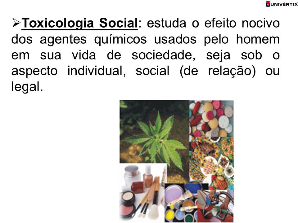  Toxicologia Social: estuda o efeito nocivo dos agentes químicos usados pelo homem em sua vida de sociedade, seja sob o aspecto individual, social (d