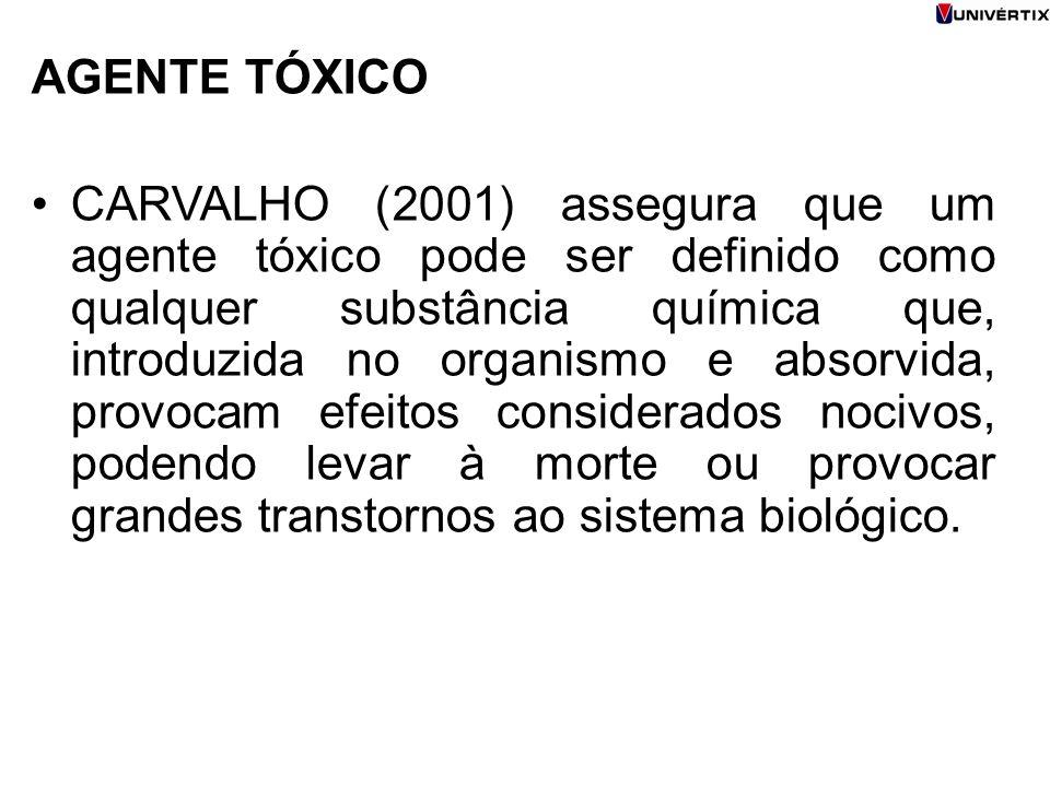 AGENTE TÓXICO CARVALHO (2001) assegura que um agente tóxico pode ser definido como qualquer substância química que, introduzida no organismo e absorvi