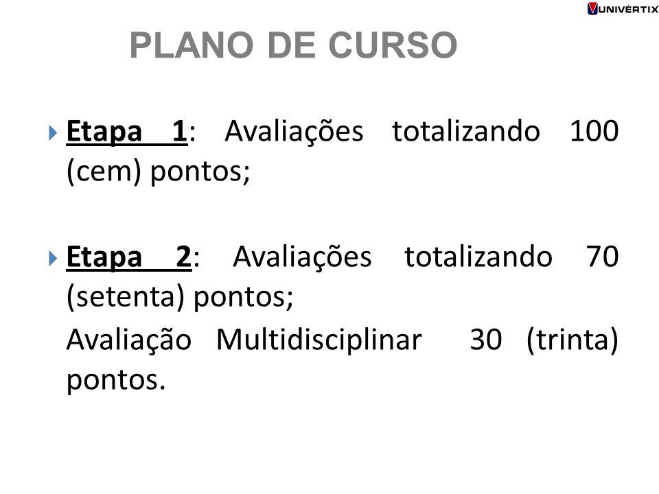 PLANO DE CURSO  Etapa 1: Avaliações totalizando 100 (cem) pontos;  Etapa 2: Avaliações totalizando 70 (setenta) pontos; Avaliação Multidisciplinar 3