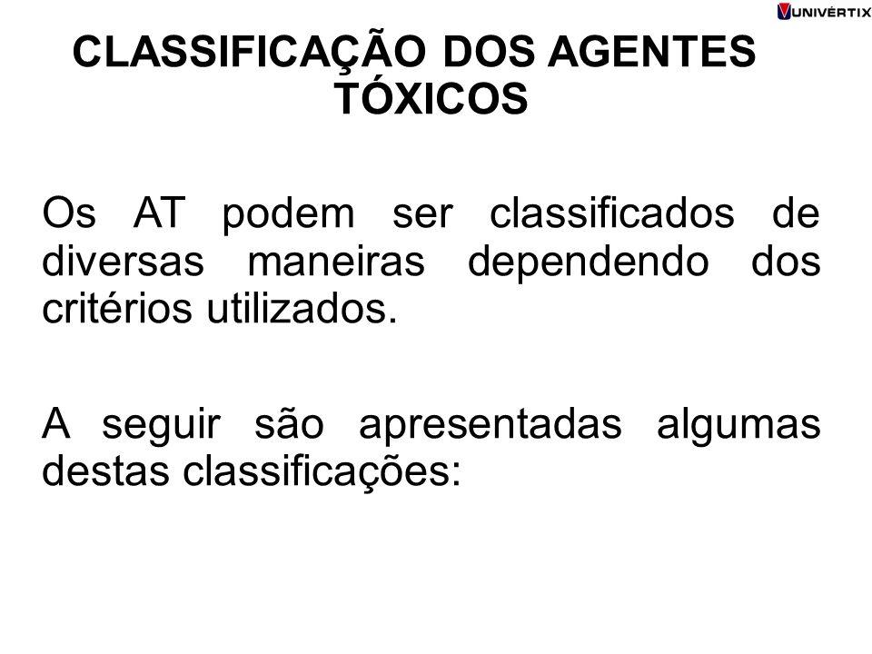 CLASSIFICAÇÃO DOS AGENTES TÓXICOS Os AT podem ser classificados de diversas maneiras dependendo dos critérios utilizados. A seguir são apresentadas al