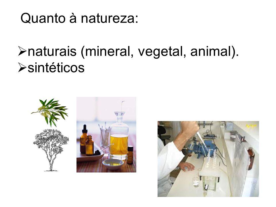 Quanto à natureza:  naturais (mineral, vegetal, animal).  sintéticos