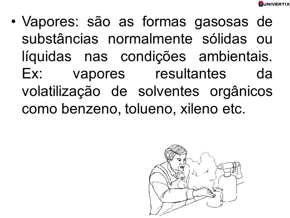 Vapores: são as formas gasosas de substâncias normalmente sólidas ou líquidas nas condições ambientais. Ex: vapores resultantes da volatilização de so