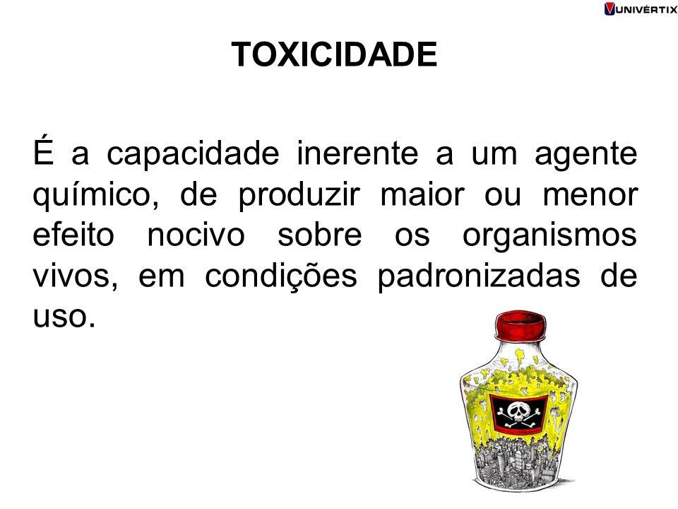 TOXICIDADE É a capacidade inerente a um agente químico, de produzir maior ou menor efeito nocivo sobre os organismos vivos, em condições padronizadas