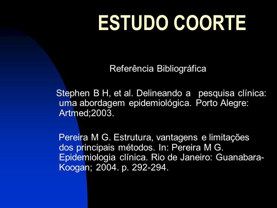 ESTUDO COORTE Referência Bibliográfica Stephen B H, et al. Delineando a pesquisa clínica: uma abordagem epidemiológica. Porto Alegre: Artmed;2003. Per