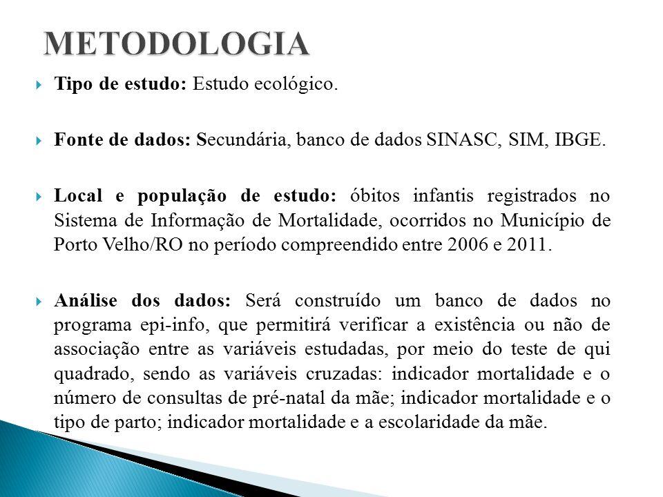  Tipo de estudo: Estudo ecológico. Fonte de dados: Secundária, banco de dados SINASC, SIM, IBGE.