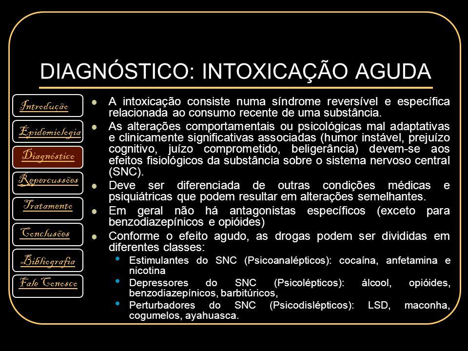DIAGNÓSTICO: INTOXICAÇÃO AGUDA A intoxicação consiste numa síndrome reversível e específica relacionada ao consumo recente de uma substância. As alter