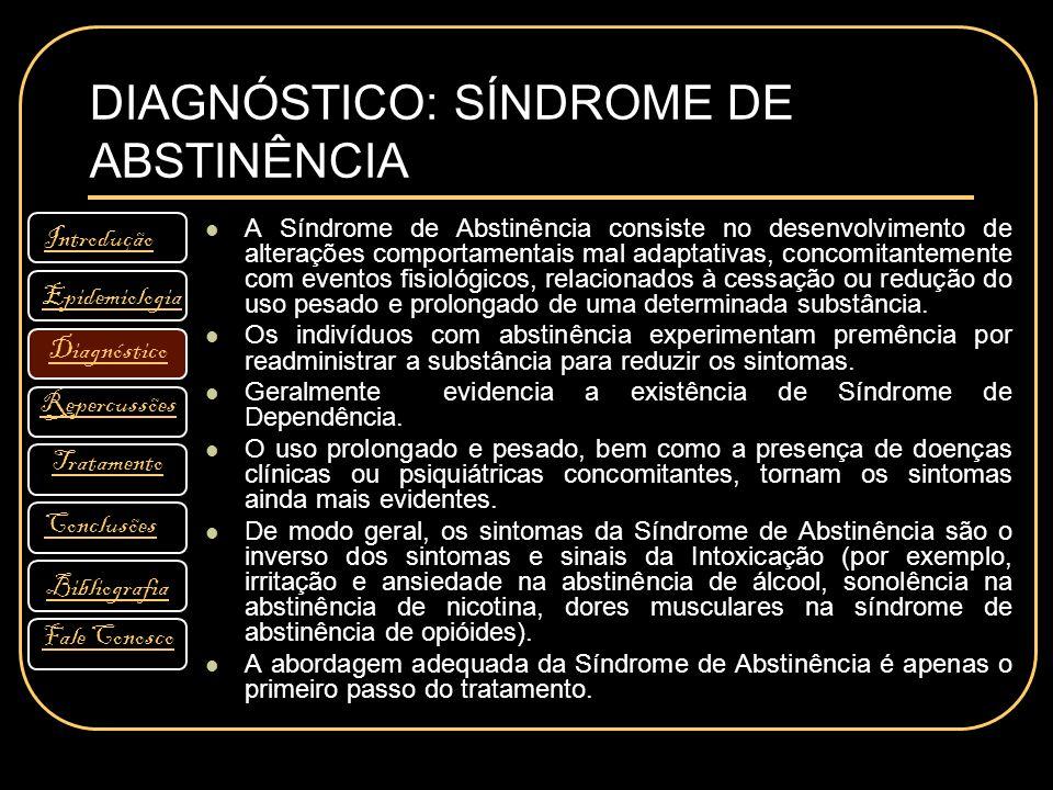 DIAGNÓSTICO: SÍNDROME DE ABSTINÊNCIA Introdução Diagnóstico Bibliografia Tratamento Fale Conosco Conclusões Repercussões Epidemiologia A Síndrome de A