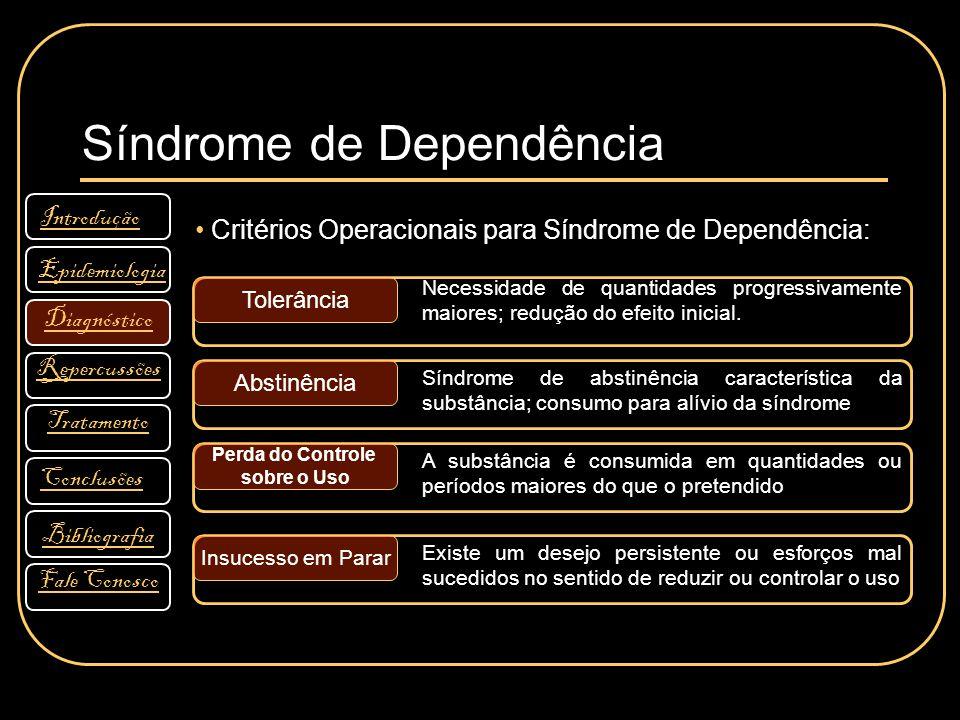Síndrome de Dependência Introdução Diagnóstico Bibliografia Tratamento Fale Conosco Conclusões Repercussões Epidemiologia Critérios Operacionais para