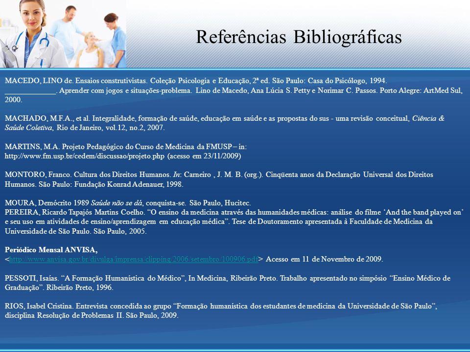 Referências Bibliográficas MACEDO, LINO de. Ensaios construtivistas. Coleção Psicologia e Educação, 2ª ed. São Paulo: Casa do Psicólogo, 1994. _______