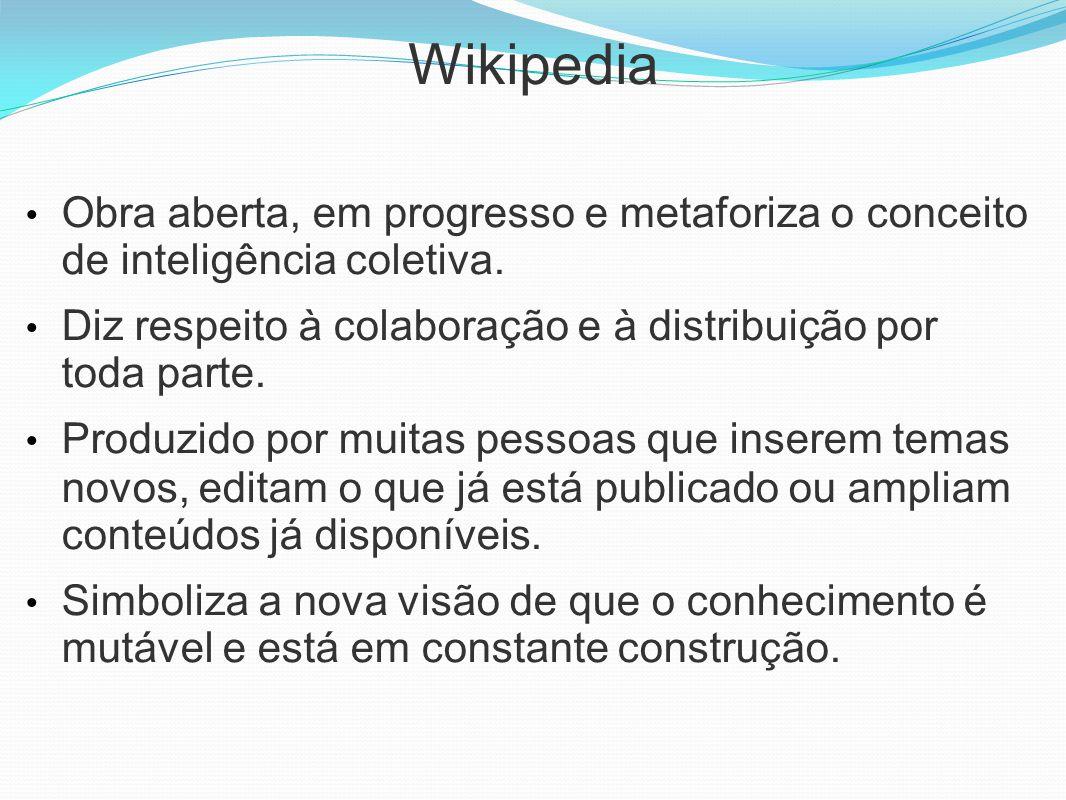 Wikipedia Obra aberta, em progresso e metaforiza o conceito de inteligência coletiva. Diz respeito à colaboração e à distribuição por toda parte. Prod