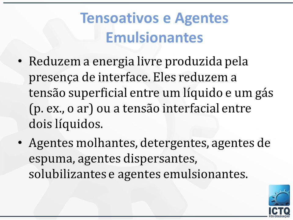 Tensoativos e Agentes Emulsionantes Surfactantes ou tensoativos São moléculas ou íons que são adsorvidos nas interfaces. A estrutura molecular é compo