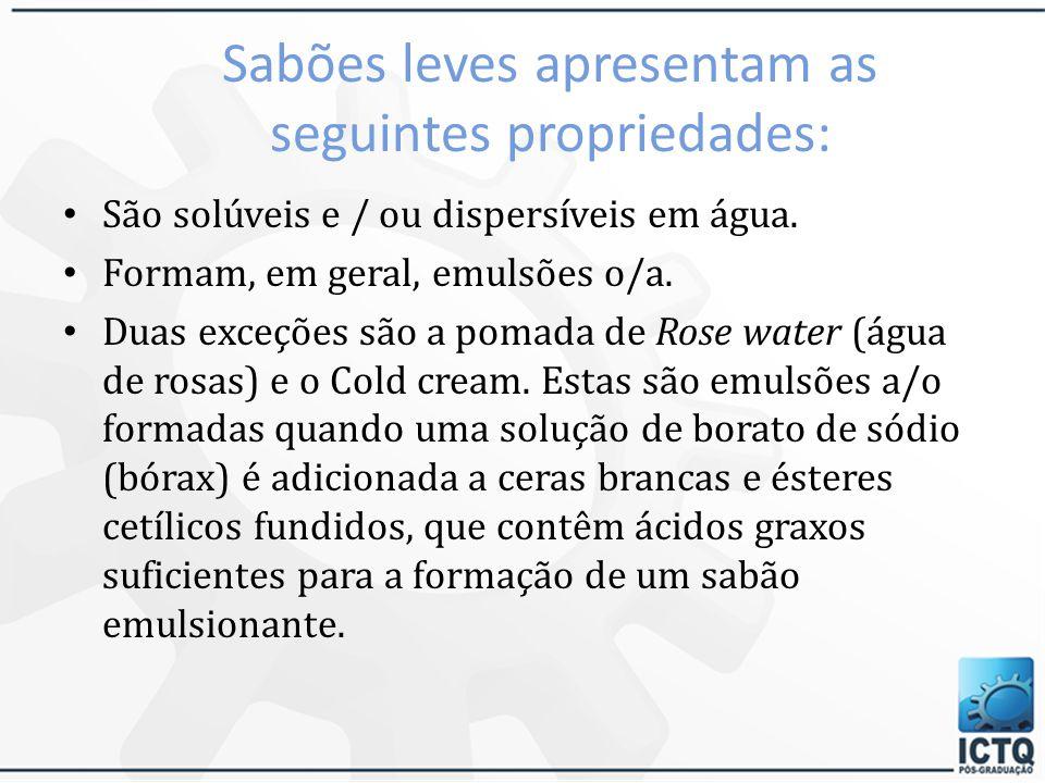 Detergentes e sabões aniônicos  Sabões leves: são os sais de ácidos graxos nos quais o íon positivo é monovalente, como Na +, K +, NH 4 +.