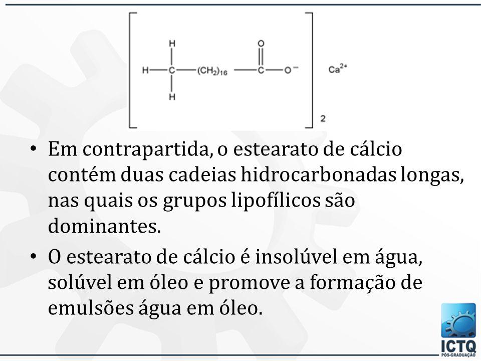 Exemplos Nos sabões, estearato de sódio, o grupo hidrofílico, - COO - Na +, é relativamente dominante sobre a cadeia hidrocarbonada lipofílica, C 17 H