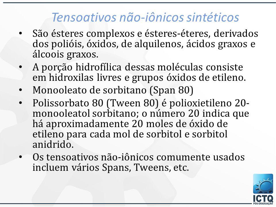 Tensoativos não-iônicos naturais Álcoois graxos: – álcool estearílico e álcool cetílico Lanolina ou ceras e seus derivados Álcoois de lanolina e colesterol e derivados Ceras naturais – Espermacete Ceras de ésteres cetílicos – espermacete sintético