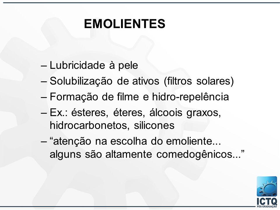 ClasseDescrição QuímicaCaracterísticas e Aplicação Tensoativos etoxiladosPEG-120 metilglicose trioleato, propilenoglicol e água (Glucamate LT) É líquido, pode ser usado a frio e serve para reduzir a irritabilidade dos outros componentes em formulações hipoalergênicas.