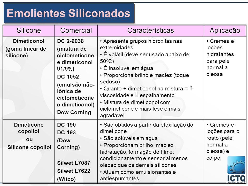 SiliconeComercialCaracterísticasAplicação Dimeticones (polidimetilsilo xano) DC Fluído 200/10 200/50 200/100 200/350 (Dow Corning) L 45/300 Osi/Witco