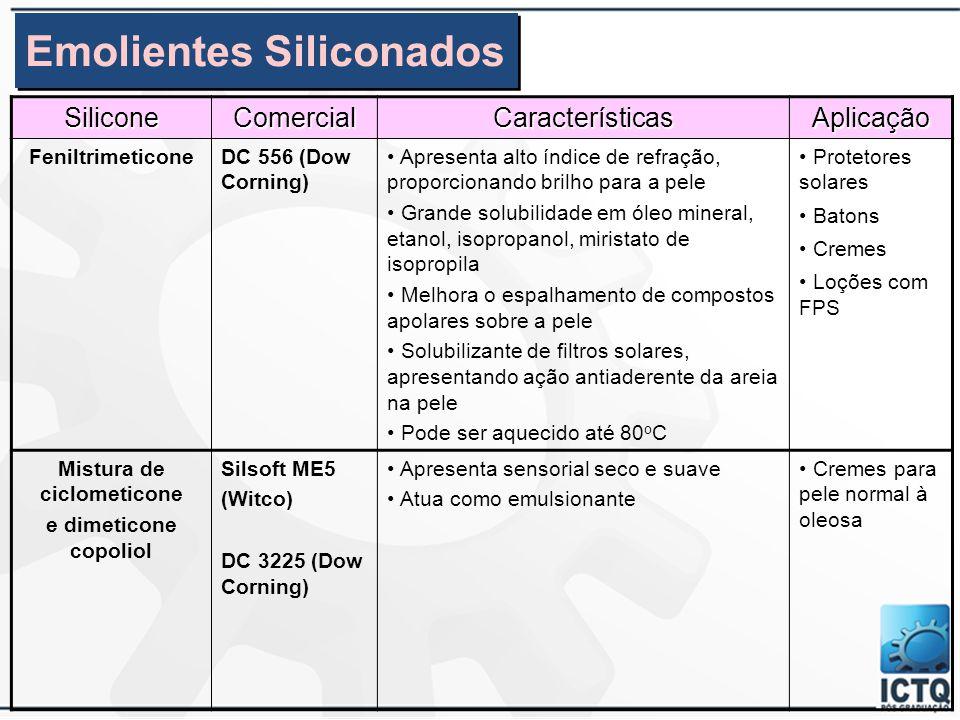 SiliconeComercialCaracterísticasAplicação Dimeticonol (goma linear de silicone) DC 2-9038 (mistura de ciclometicone e dimeticonol 91/9%) DC 1052 (emul