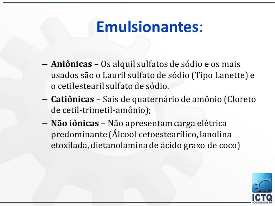 Umectantes –Desempenham vários papéis nas emulsões: Ligam-se à água (pontes de H) – ação hidratante Solubilizantes, dispersantes (levigação) Remoção e espalhabilidade das emulsões na pele Demaquilantes (facilitam a remoção da maquilagem) –Glicerina, propilenoglicol, butilenoglicol, sorbitol, hialuronato de sódio –Altas concentrações (acima de 10%) podem resultar em pegajosidade