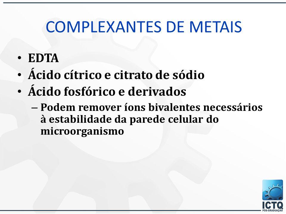 Conservantes Álcoois (etanol e propanol), polióis (glicerina e propilenoglicol acima de 20% exercem ação antimicrobiana) Antioxidantes NDGA - ácido nordiidroguaiacético BHA - butilidroxianisol BHT - butilidróxidotolueno Ésteres do ácido ascórbico Ésteres do ácido gálico Tocoferoóis e o Metabissulfito de sódio – O abaixamento do potencial de oxi-redução diminui a velocidade de crescimento de microorganismos aeróbios e os anaeróbios facultativos
