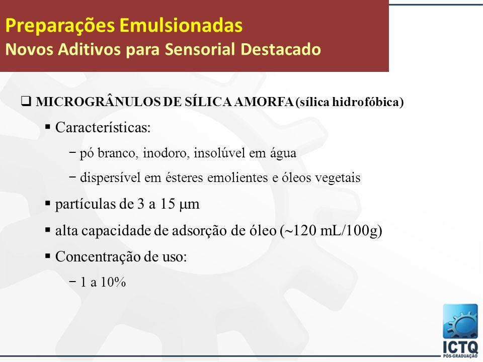 Preparações Emulsionadas Novos Aditivos para Sensorial Destacado  NITRETO DE BORO  Características: − pó branco, inodoro, insolúvel em água − disper