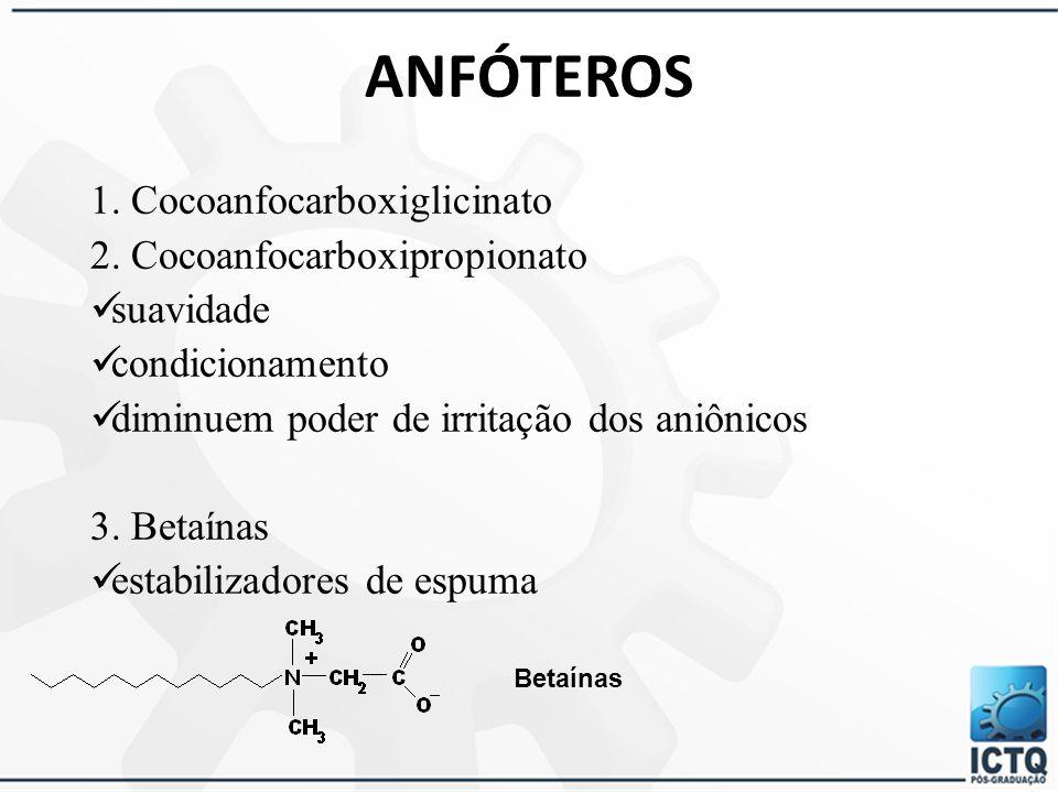 SURFACTANTES NÃO-IÔNICOS 3. Alquilpoliglicosídeos origem vegetal muitos suaves diminuem a capacidade de irritação dos aniônicos espessamento espuma ma