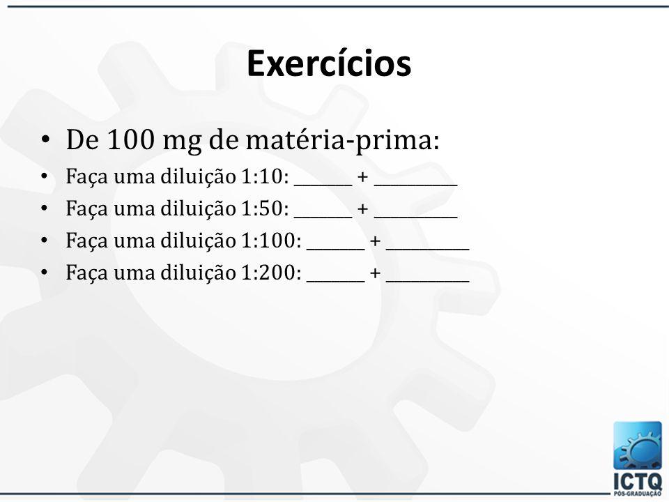 Exercícios: De 1 g de matéria-prima: Faça uma diluição 1:10:_______ + __________ Faça uma diluição 1:50: _______ + __________ Faça uma diluição 1:100: _______ + __________ Faça uma diluição 1:200: _______ + __________