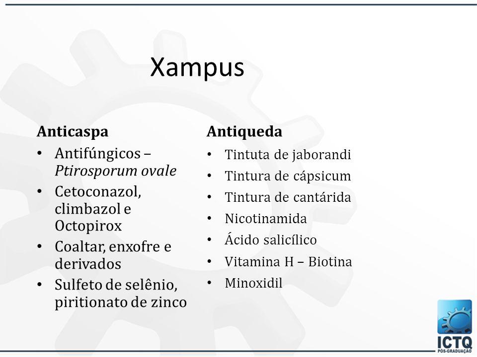 Xampus Antirresíduos, Anticloro e pós-piscina Tensoativos suaves Pouco ou nenhum condicionante EDTA e seus sais (quelar os resíduos, o cloro e o cálci