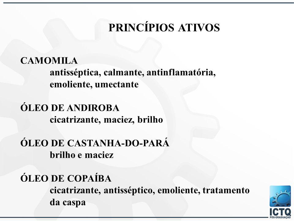 PRINCÍPIOS ATIVOS HAMAMÉLIS vasoconstritor, adstringente, descongestionante, tônica SÁLVIA adstringente, antisseborreico, antisséptico, estimulante ARNICA adstringente, cicatrizante, descongestionante HENNA condicionadora, brilho, volume