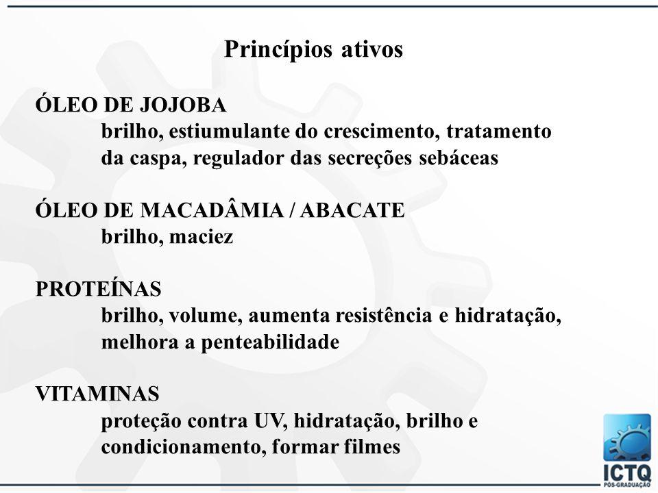 PRINCÍPIOS ATIVOS CAMOMILA antisséptica, calmante, antinflamatória, emoliente, umectante ÓLEO DE ANDIROBA cicatrizante, maciez, brilho ÓLEO DE CASTANHA-DO-PARÁ brilho e maciez ÓLEO DE COPAÍBA cicatrizante, antisséptico, emoliente, tratamento da caspa