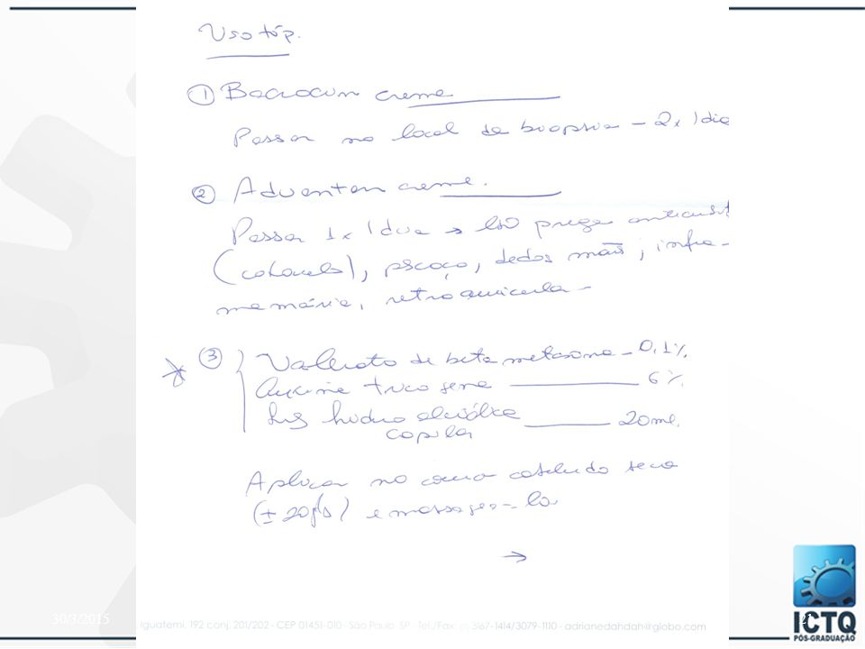 Exercícios: De 100 mg de matéria-prima: Faça uma diluição 1:10: _______ + __________ Faça uma diluição 1:50: _______ + __________ Faça uma diluição 1:100: _______ + __________ Faça uma diluição 1:200: _______ + __________