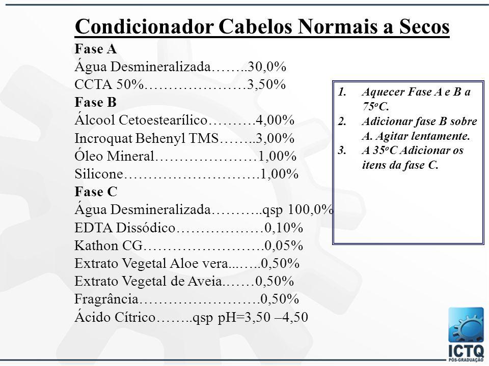 Componentes Agente CondicionanteCloreto de Cetil Trimetil Amôneo Agente de ConsistênciaÁlcool Cetilico, cetoestearílico, cloreto de berrentrimônio Agente lubrificanteSilicones, óleo mineral, glicerina, óleo vegetal, PEG-14M ConservantePhenoxiethanol, parabenos, DMDM Hidantoína Fragrâncias, corFragrância, corantes (CI) Acerto de pHÁcido Cítrico, Treietanolamina, NaOH CondicionantePoliquatérnio, silicone, dimeticone EmolientesPalmitato de isopropila, de octila, miristato de isopropila CondicionantesManteiga de karité, oliva, óleo de abacate, amêndoas AtivosExtratos, proteínas, aminoácidos