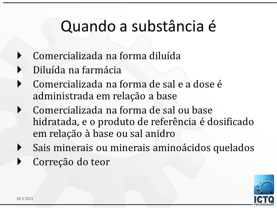 MATÉRIAS-PRIMAS QUE NECESSITAM DE CORREÇÃO 30/3/201522