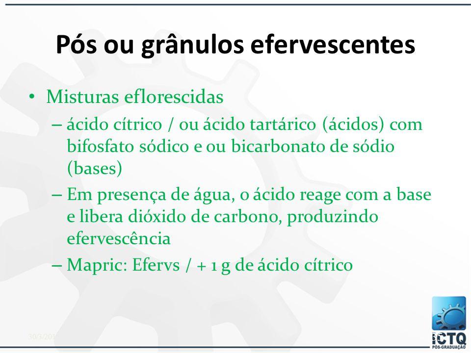 Podemos adicionar aos pós  Produtos antissépticos  Adstringentes  Antiseborreicos  Antifúngicos, etc. 30/3/2015 34