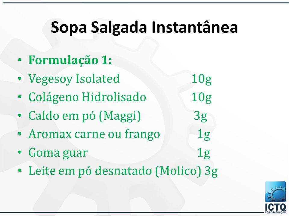 Sopa Instantânea A Sopa instantânea é uma alternativa de forma farmacêutica para aqueles pacientes que apresentam alguma dificuldade de utilizar as fo