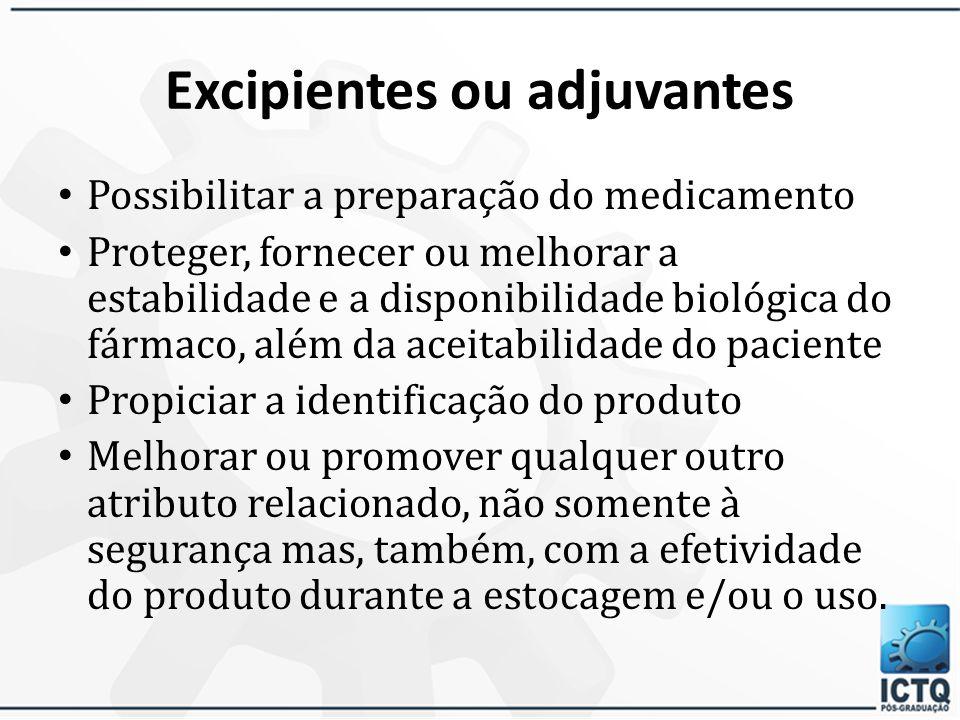 Excipientes ou adjuvantes Excipiente é qualquer substância, diferente do fármaco ou do pró-fármaco, que tem sua segurança avaliada e, a partir de então, pode ser incluída na forma farmacêutica, com as seguintes intenções: 30/3/201548