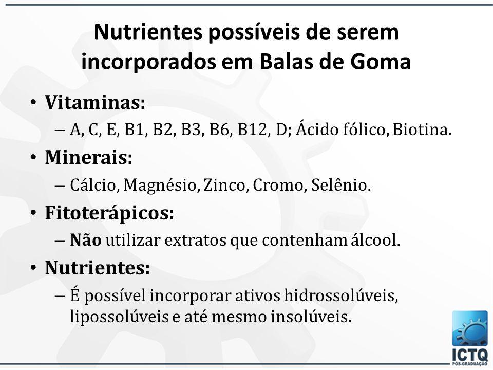 FORMULANDO GOMAS Vantagens – Gelatina como agente geleificante; – Colágeno hidrolisado como ingrediente adicional; – Ausência de sacarose; – Boa estab