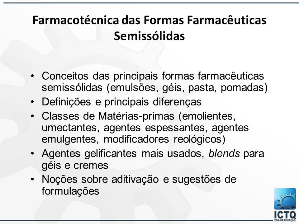 Produtos de Aplicação Tópica 30/3/2015 78 Géis, Emulsões, Pomadas e Pastas