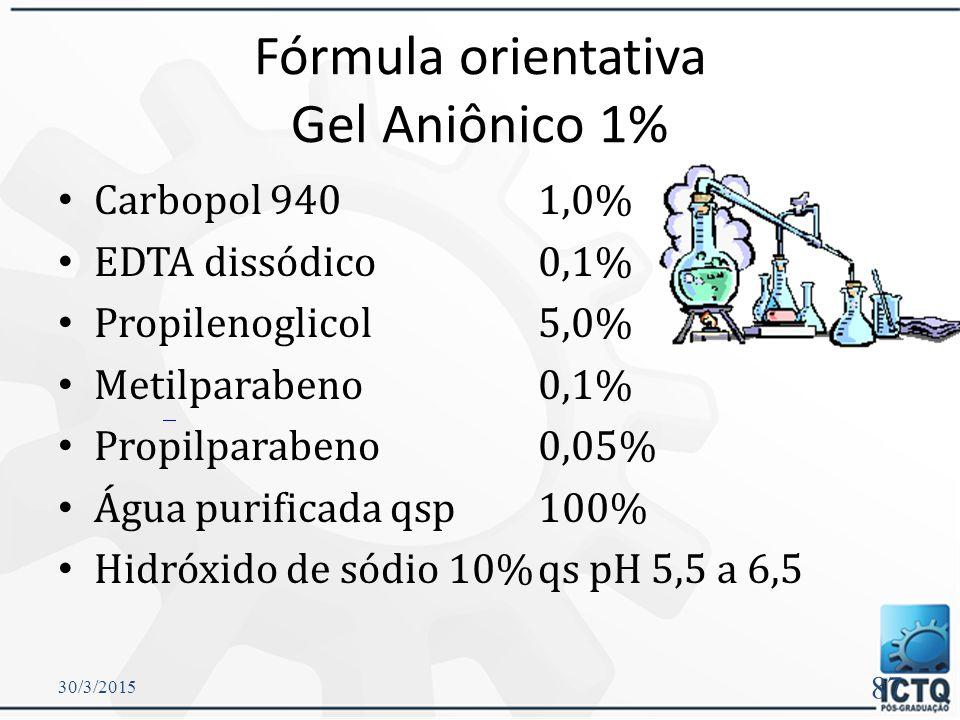 Gel de Carbopol ® Estável - pH 4 a 10  Nos extremos pode ocorrer perda de viscosidade.