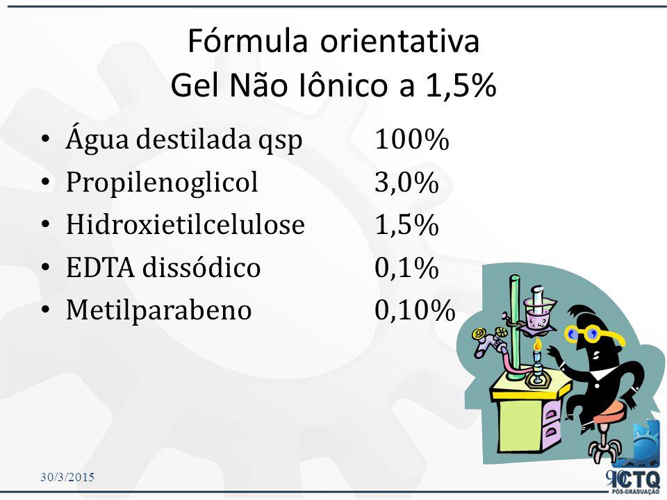 Gel Não-iônico Compostos orgânicos que, quando hidratados, não se ionizam.  Polivinilpirrolidona (PVP)  Celuloses  Metilcelulose  Etilcelulose  H
