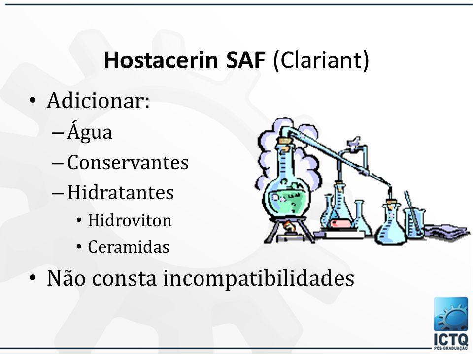 Hostacerin SAF (Clariant) O produto final é compatível com diversos princípios ativos farmacêuticos e cosméticos, incluindo a hidroquinona, Filtros So