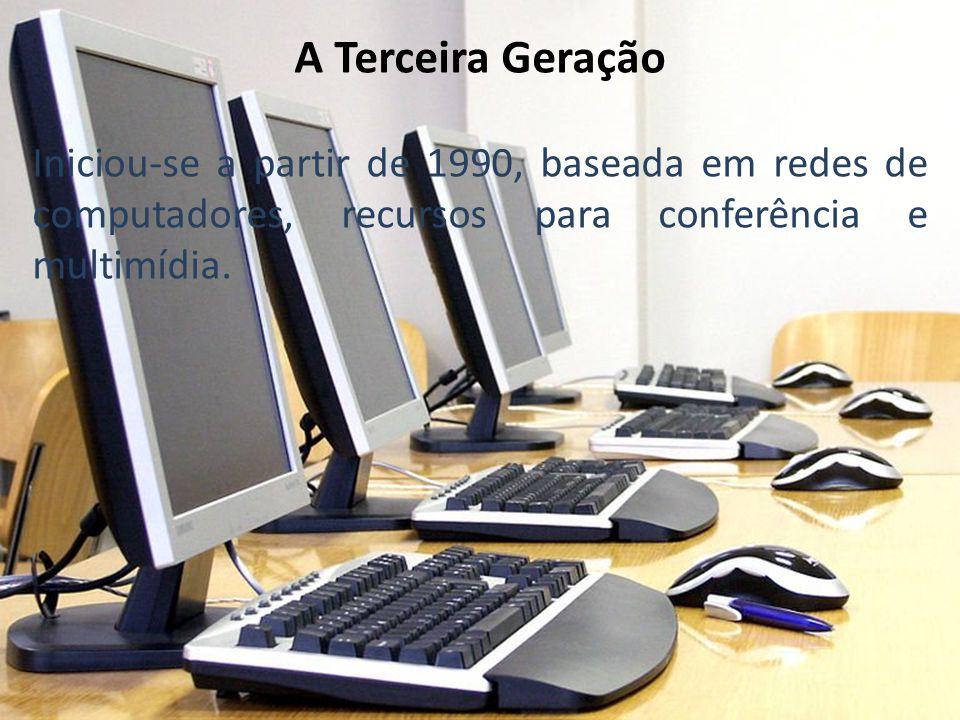 A Terceira Geração Iniciou-se a partir de 1990, baseada em redes de computadores, recursos para conferência e multimídia.