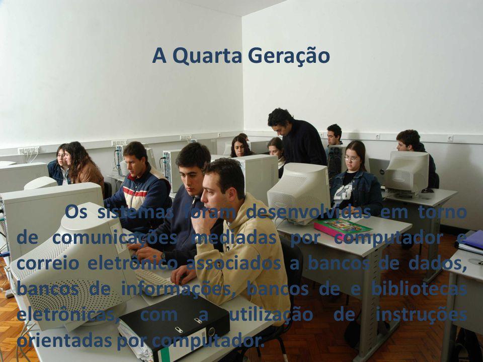 A Quarta Geração Os sistemas foram desenvolvidas em torno de comunicações mediadas por computador e correio eletrônico associados a bancos de dados, b