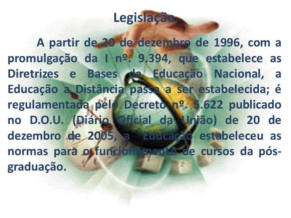 Legislação A partir de 20 de dezembro de 1996, com a promulgação da I nº. 9.394, que estabelece as Diretrizes e Bases da Educação Nacional, a Educação