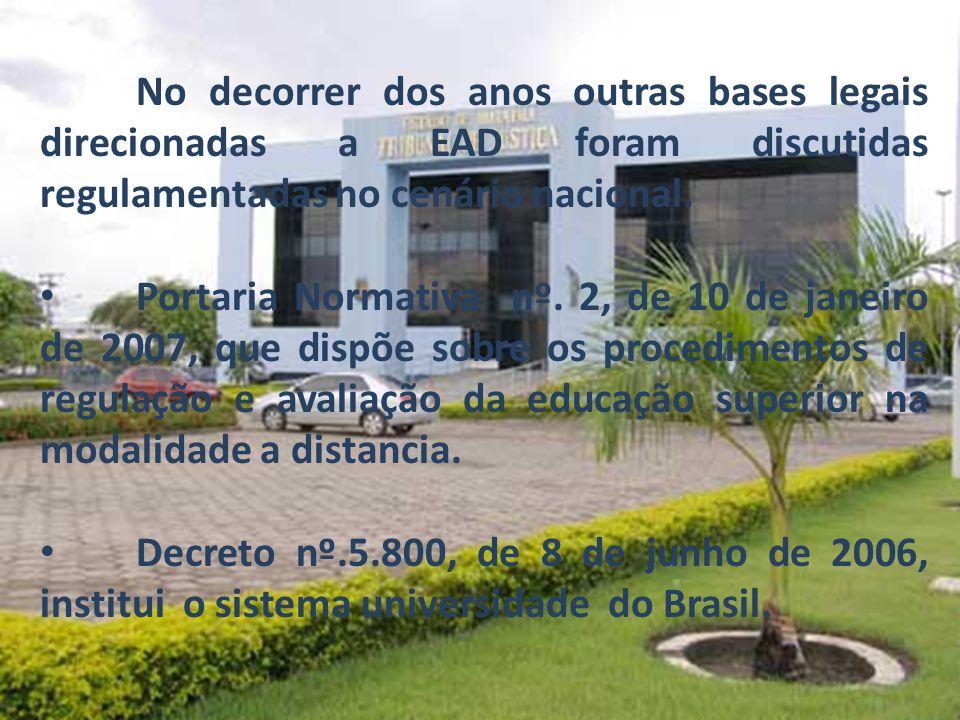 No decorrer dos anos outras bases legais direcionadas a EAD foram discutidas regulamentadas no cenário nacional. Portaria Normativa nº. 2, de 10 de ja