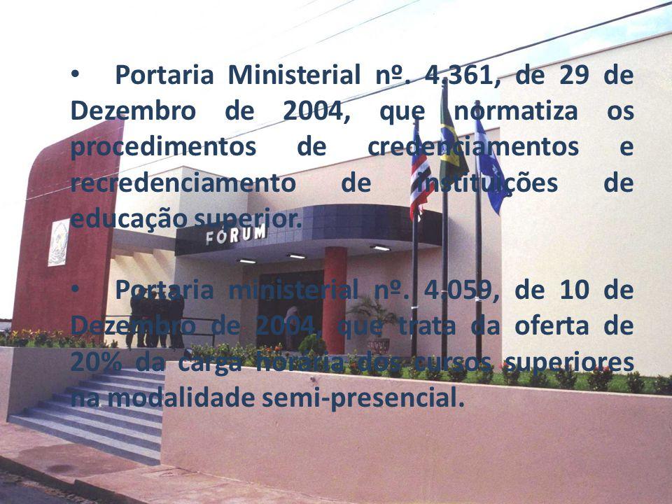 Portaria Ministerial nº. 4.361, de 29 de Dezembro de 2004, que normatiza os procedimentos de credenciamentos e recredenciamento de instituições de edu