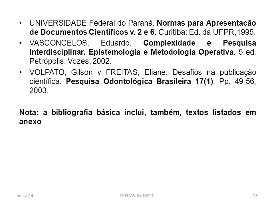 UNIVERSIDADE Federal do Paraná.Normas para Apresentação de Documentos Científicos v.