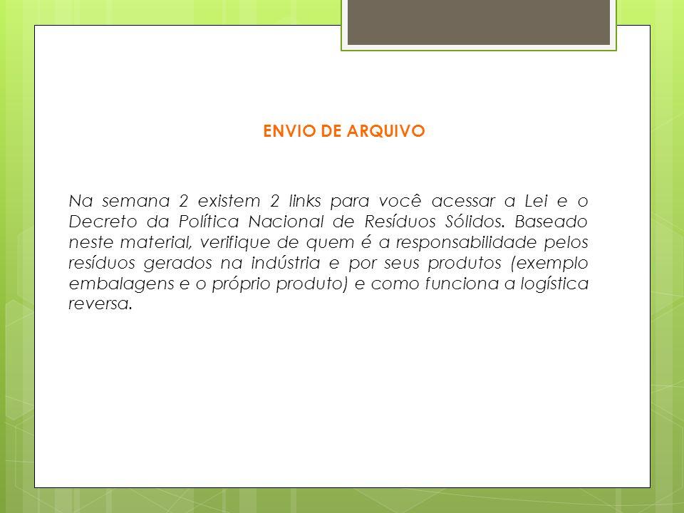 ENVIO DE ARQUIVO Na semana 2 existem 2 links para você acessar a Lei e o Decreto da Política Nacional de Resíduos Sólidos.
