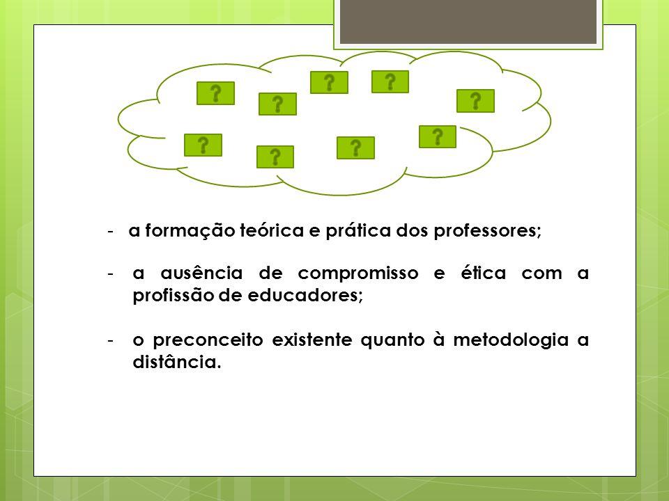 - a formação teórica e prática dos professores; - a ausência de compromisso e ética com a profissão de educadores; - o preconceito existente quanto à metodologia a distância.